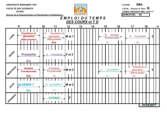 SMA S6 : Emplois du temps des Cours et TDs 2016/2017