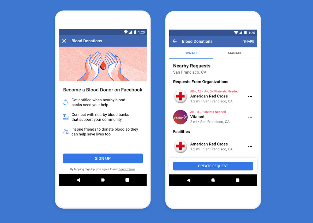 To help raise awareness and make it easier for people to find opportunities to donate blood, Facebook is launching its Blood Donations feature in the U.S.
