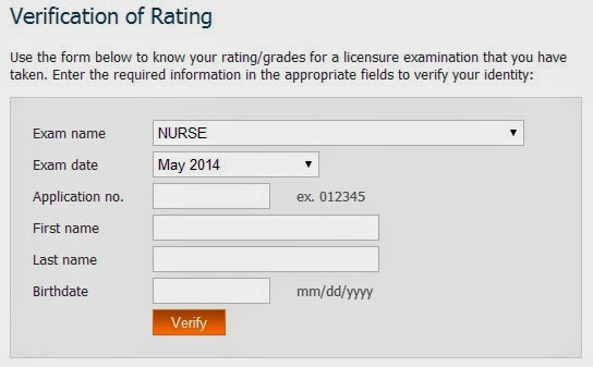 May 2014 NLE takers verification of ratings (VoR)