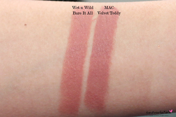 MAC MLBB Lipstick Dupes: MAC Velvet Teddy vs Wet n Wild Bare It All