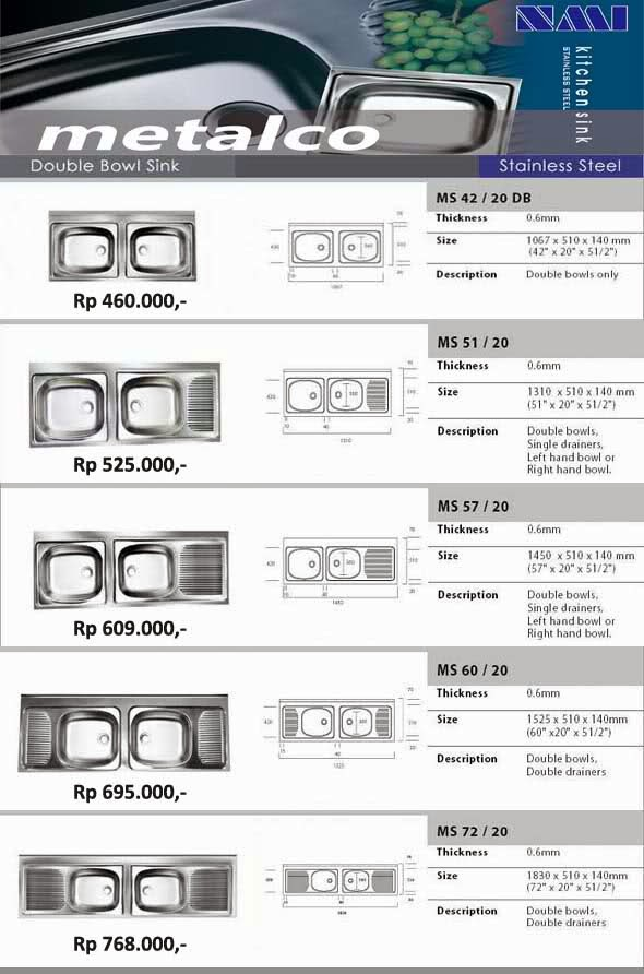 Bak Cuci Piring Kitchen Sink Stainless Steel Metalco