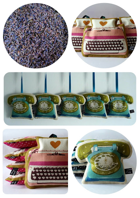 Ruby Star telephone and typewriter lavender bags by Ivy Arch
