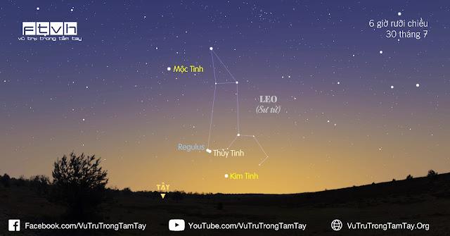 [Ftvh] #BầuTrờiĐêmNay 30/7/2016. Đón xem Sao Thủy nằm rất gần sao Regulus.