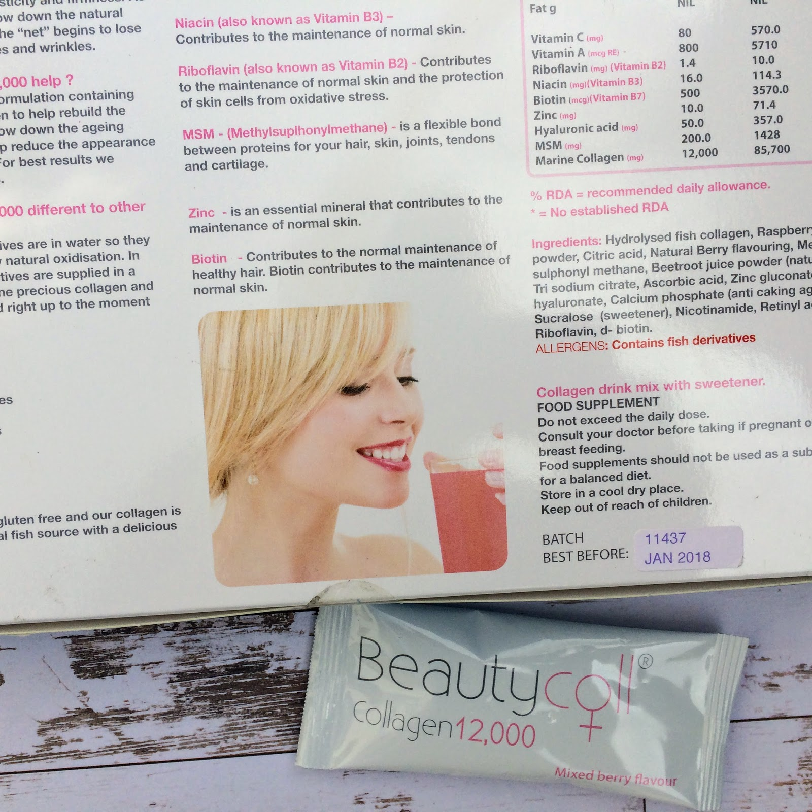 Beautycoll collagen drinks back of box information