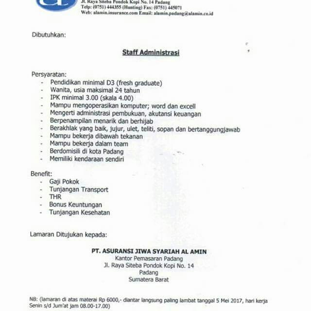 Lowongan Kerja Padang: PT. Asuransi Jiwa Syariah Al-Amin Mei 2017
