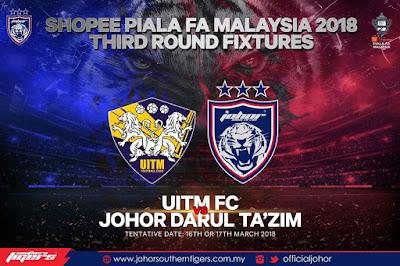 Live Streaming UITM FC vs JDT FC Piala FA Malaysia 17 Mac 2018
