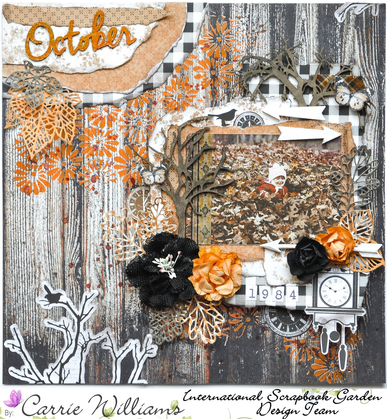 October mixed media autumn fall scrapbook layout on in orange, brown, and black on wood grain background with flowers by Kaisercraft and Petaloo, with background stenciling with Dreamsicle texture paste, torn paper layers, and Prima die cut leaves  with chipboard by Creative Embellishments
