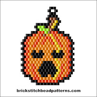 Click to view the Scary Halloween Pumpkin brick stitch bead pattern charts.