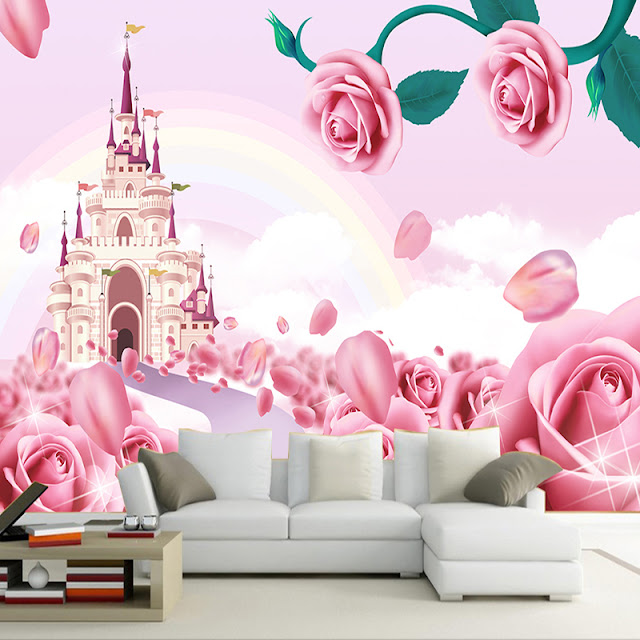 Castle Wall Murals 3D Roses Pink Girl Room Cartoon Castle Tower WallPaper for Kids Children Livingroom Wall Mural Bedroom
