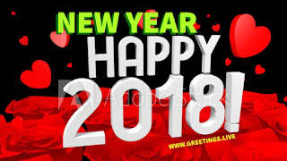 Love greetings for happy new year 2018 red green black combination