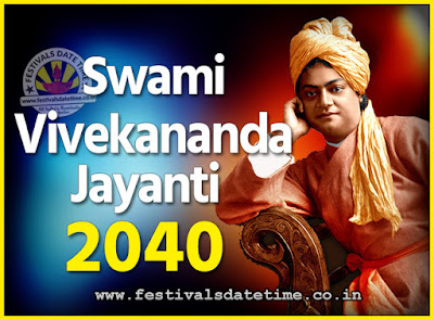 2040 Swami Vivekananda Jayanti Date & Time, 2040 National Youth Day Calendar