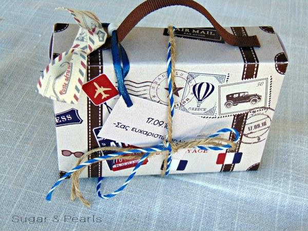 Βαλιτσάκι μπομπονιέρα Travelling-Old suitcase with stamps-favor box