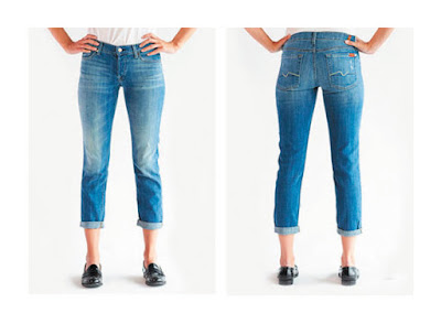 Более прилегающие джинсы бойфренды на фигуре прямоугольник