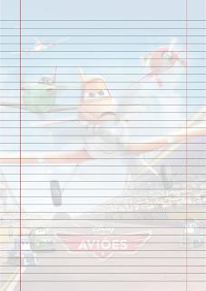 Folha Papel Pautado do Filme Avioes PDF para imprimir na folha A4