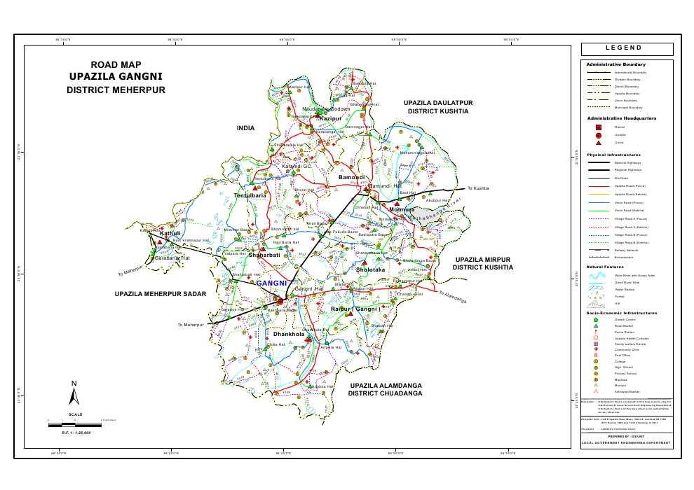 Gangni Upazila Road Map Meherpur District Bangladesh