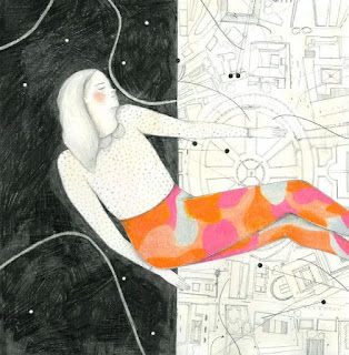dibujo chica flotando
