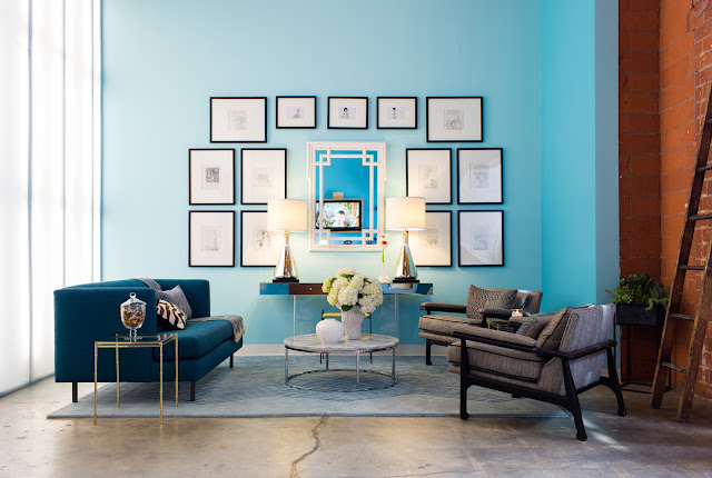 office waiting area with cyan shades design