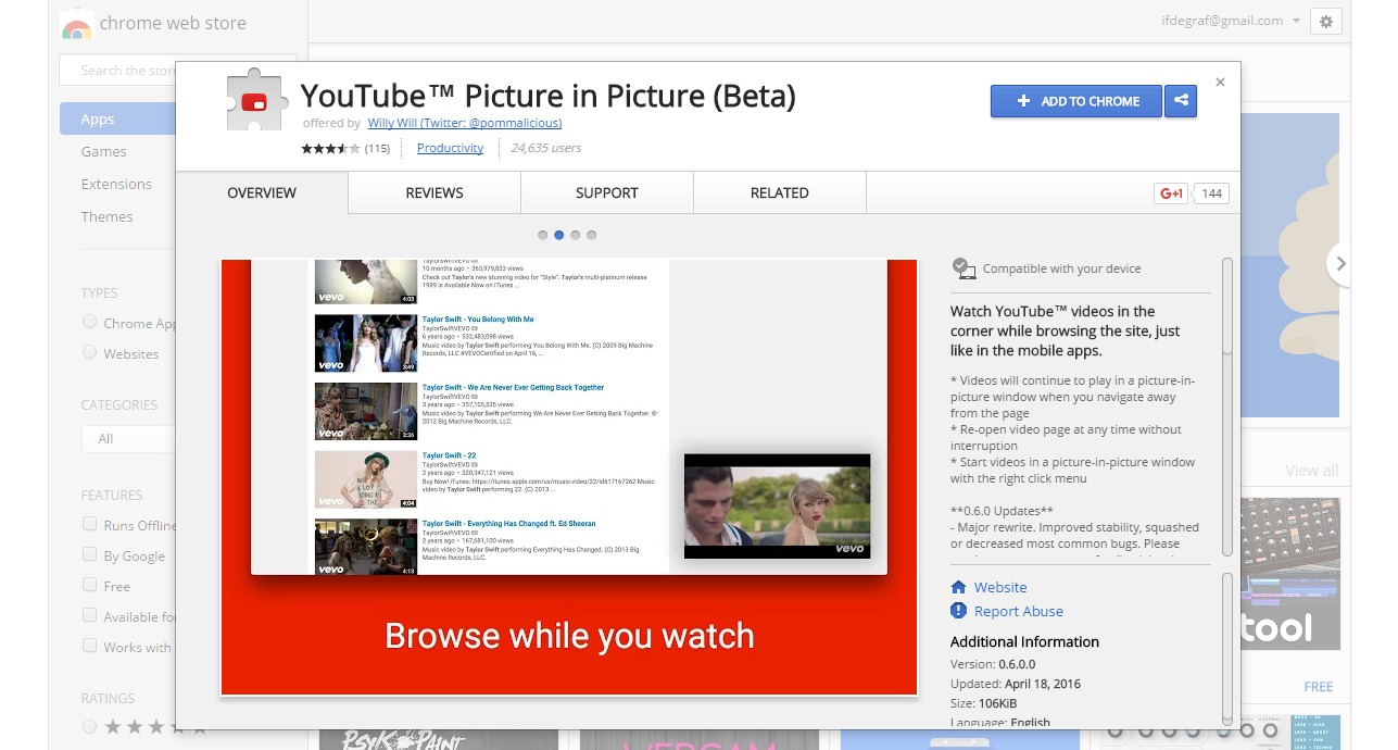 plugin YouTube™ Picture in Picture