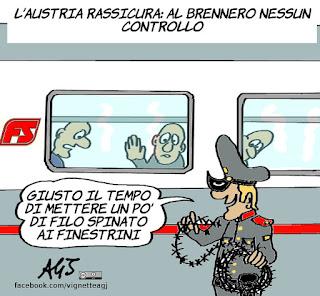 Brennero, Austria, confine, migranti, muri, satira, vignetta