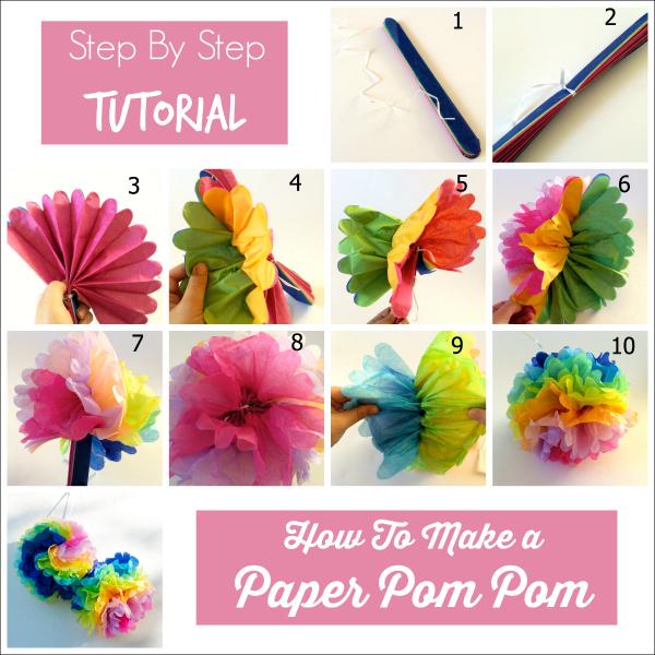 M s y m s manualidades como hacer pompones gigantes de papel - Como se hacen los pompones ...