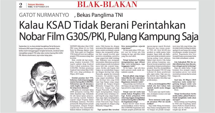 Gatot Nurmantyo Minta KSAD Pulang Kampung Jika tak Berani Putar Film G-30S/PKI