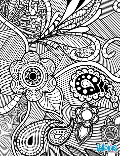Flowers  Paisley Design Worksheet Color Online Print  Sophisticated Adult  Picture