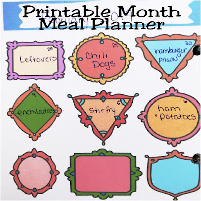 Organize yourself and your grocery bill, with this fun, colorful monthly meal planner page. With cute frames in all sizes and styles, you'll happily fill this out each day to keep your kitchen organized.