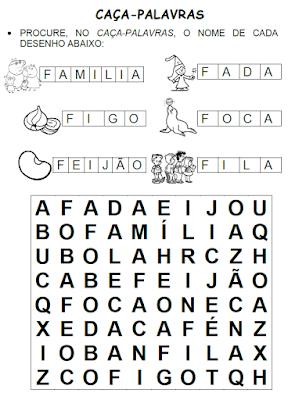 Caça-palavras de palavras que têm FA, FE, FI, FO, FU