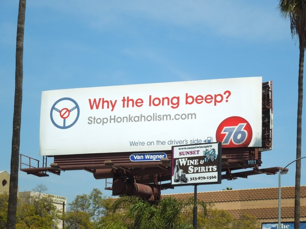 Why long beep? Stop Honkaholism 76 billboard