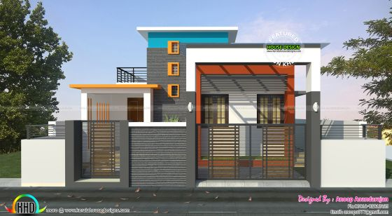 800 Sq Ft Home With Blueprint Kerala Home Design And