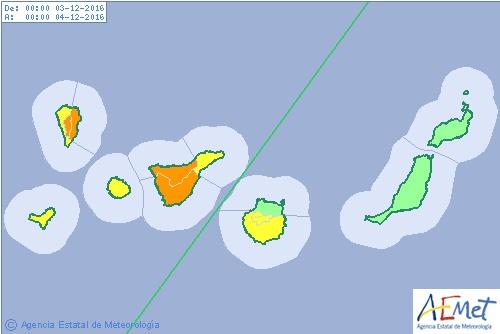 Aviso naranja Tenerife y La Palma por viento, 3 diciembre