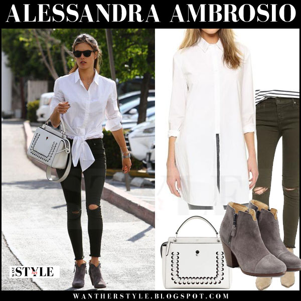 Alessandra Ambrosio in white rta marie shirt, black ripped skinny rta prince jeans and grey ankle boots rag and bone what she wore model style