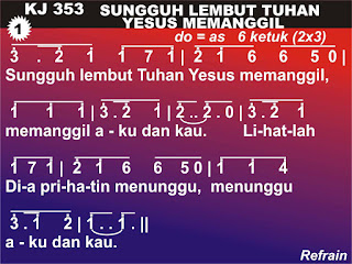 Lirik dan Not Kidung Jemaat 353 Sungguh Lembut Tuhan Yesus Memanggil