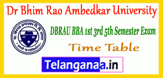 DBRAU Dr Bhim Rao Ambedkar University BBA 1st 3rd 5th Semester Time Table