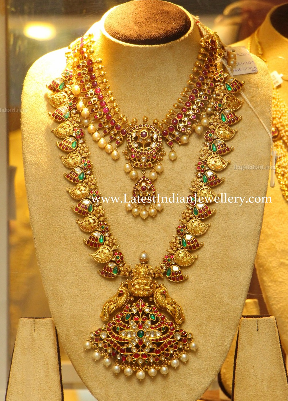 kundan necklace and mango haram
