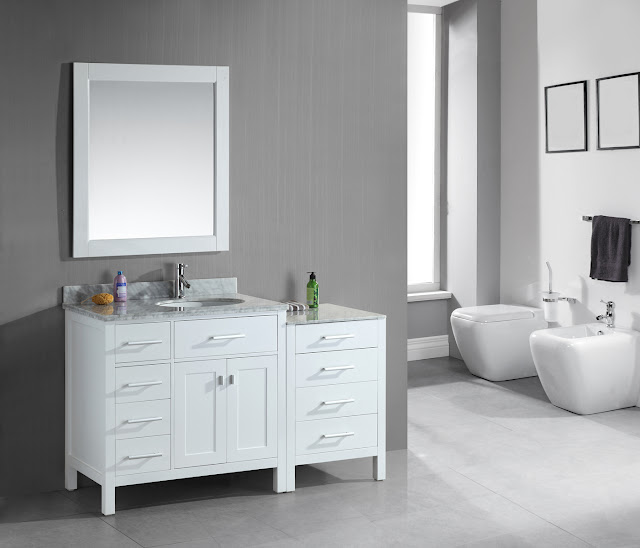 56 inch Modular Bathroom Vanity White Finish Set