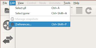 Tampilan menu tab edit pada GNS3