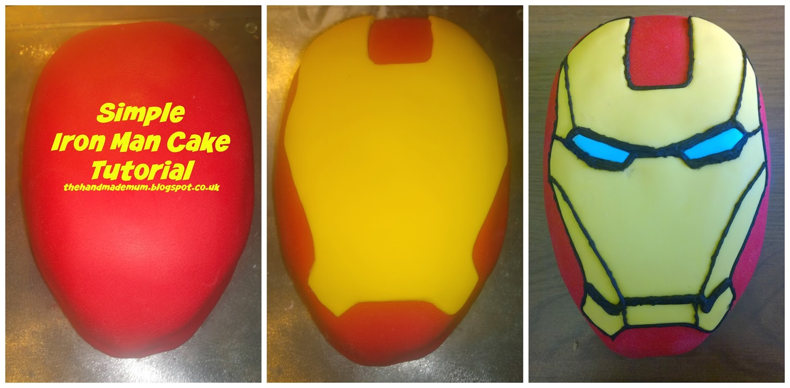 The Handmade Mum How to create a simple Iron Man head birthday cake