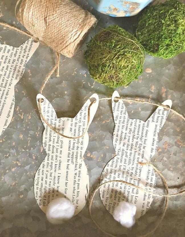 Easy bunny book page garland
