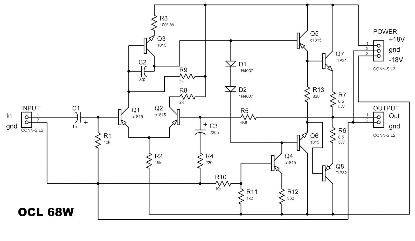 Ocl 68 Watt Power Amplifier Electronic Circuit 32 Diagram