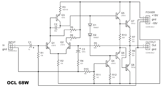 50 watt power amplifier circuit diagram