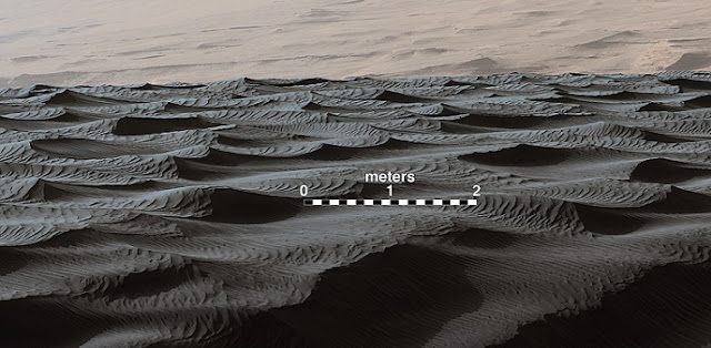 Two sizes of ripples are evident in this Dec. 13, 2015, view of a top of a Martian sand dune, from NASA's Curiosity Mars rover. Sand dunes and the smaller type of ripples also exist on Earth. The larger ripples are a type not seen on Earth nor previously recognized as a distinct type on Mars. Credits: NASA/JPL-Caltech/MSSS
