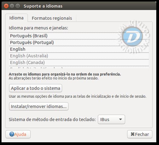 Suporte a Idiomas Ubuntu