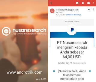 Bukti Pembayaran dari Aplikasi Nusaresearch