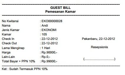 pembayaran dilakukan setelah check out di klik dan akan menghasilkan kwitansi pembayaran guest bill seperti berikut ini