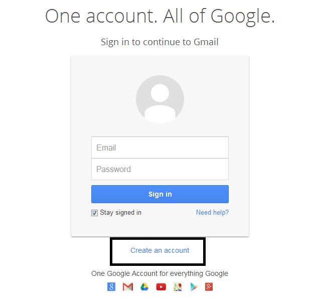 Klik Create An Account untuk mendaftar email gmail