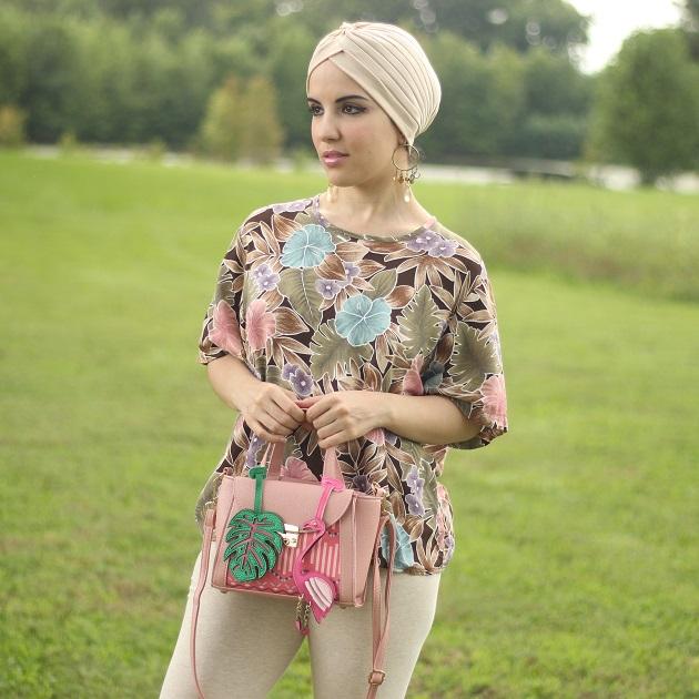 Monstera Leaf and Flamingo Handbag