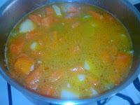 Crema de Zanahorias y Calabaza Preparándose