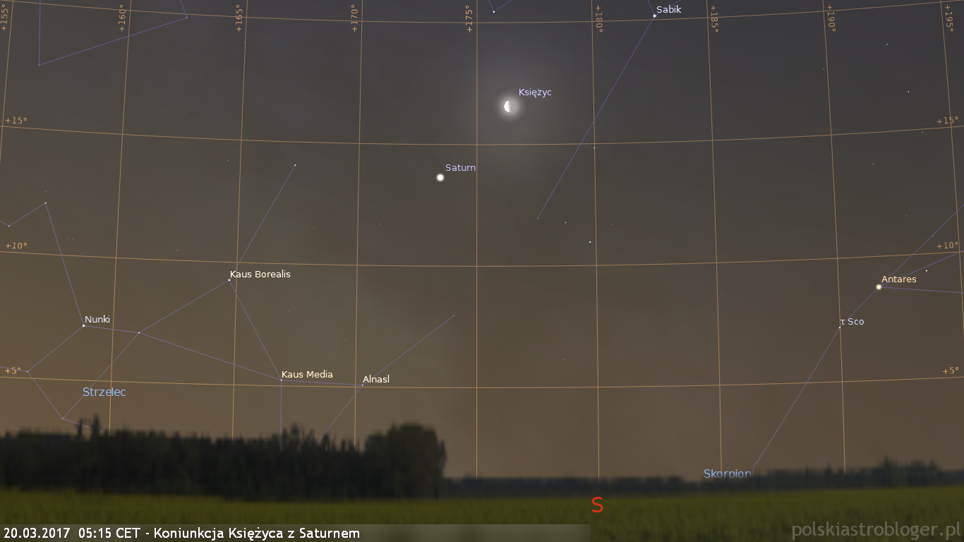 20.03.2017  05:15 CET - Koniunkcja Księżyca z Saturnem