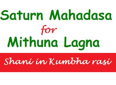 Shani Mahadasa for Mithuna Lagna (Shani in Kumbha)